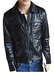 DMI™ Men's Lapel Solid Casual PU Jacket