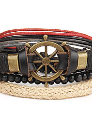 4pcs/set Punk Men's Bracelet PU Leather Bracelet Anchor Adjustable Beads Multilayer for Men Fashion Jewelry