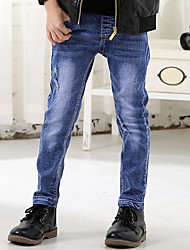 Boy's Cotton Spring/Autumn Fashion Solid Color Patchwork Denim Jeans