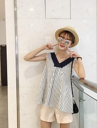 Women's Going out /  Simple / Cute Summer Tank Top,Striped V Neck Sleeveless Blue Others Medium