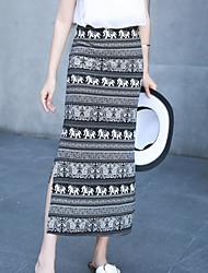 Damen Röcke - Einfach Maxi Baumwolle Unelastisch