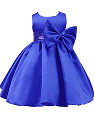 2017 Ball Gown Knee-length Flower Girl Dress - Jersey Sleeveless Jewel with Bow(s) / Sash / Ribbon