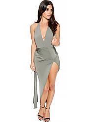 Women's Sexy Backless Halter Deep V Neck Green/White/Black/Pink Party / Club Split Asymmetrical Bodycon Dress