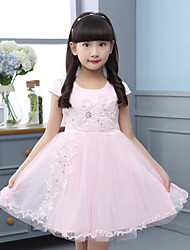 A-line Knee-length Flower Girl Dress - Cotton / Satin / Tulle Short Sleeve Jewel with Appliques / Sash / Ribbon