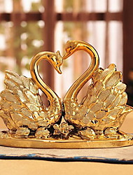 European Wedding Home Accessories Ceramic Golden Swan Crafts Ornaments