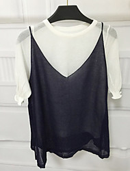 Women's Casual/Daily Simple Summer Set,Solid Round Neck ½ Length Sleeve Blue / Red / Black Linen Medium