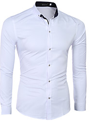 Men's Solid Work / Formal Shirt,Cotton / Polyester Long Sleeve White