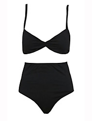 Women's High Waist The  Foreign Trade Solid Color Bikini Swimsuit Sexy Black Retro High-Waisted Bikini