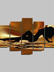 Peint à la main AbstraitTraditionnel Cinq Panneaux Toile Peinture à l'huile Hang-peint For Décoration d'intérieur