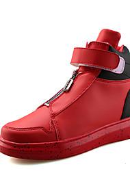 Femme-Bureau & Travail / Décontracté / Sport-Noir / Blanc / Noir et blanc-Talon Plat-Confort-Sneakers-Cuir