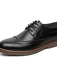 Masculino-Oxfords-Conforto / Bico Fino-Salto Baixo-Preto / Marrom / Vinho-Napa Leather-Escritório & Trabalho / Casual / Festas & Noite