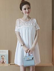 Maternidade Solto Vestido,Casual Simples Sólido Decote Redondo Acima do Joelho Manga Curta Branco Elastano Verão
