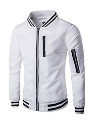 Herren Jacke Einfarbig Freizeit Baumwolle / Polyester Lang-Schwarz / Weiß