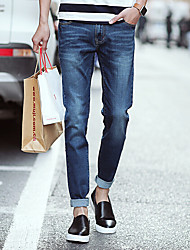 Men's Solid Casual JeansCotton Blue
