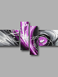 "Stretched (Ready to hang) Hand-Painted Oil Painting 64""x40"" Canvas Wall Art Modern Abstract Purple Silver Grey"