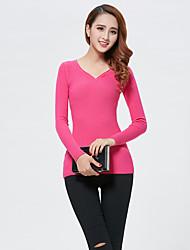 Damen Standard Pullover-Lässig/Alltäglich Einfach Solide Rosa / Rot / Weiß / Schwarz / Grau / Gelb V-Ausschnitt LangarmBaumwolle /