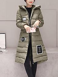 Abrigo Acolchado De las mujeres-Simple-Tipos Especiales de Cuero-Manga Larga