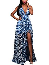 Women's Going out / Beach Sexy Swing Dress,Print Strap Maxi Sleeveless Blue / White Polyester Summer Print Randomly