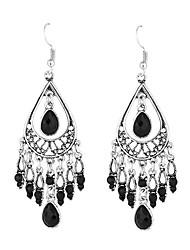 New Arrival Bohemian Style Carved Long Droplets Earring Jewelry Tibetan Silver Crystal Water Drop Earrings For Women