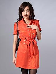 Trench Aux femmes,Couleur Pleine Sortie simple Manches Courtes Mao Orange Coton / Polyester Moyen Printemps