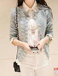 Women's Casual/Daily Simple Loose Preppy Style Regular Cardigan,Patchwork Round Neck Long Sleeve