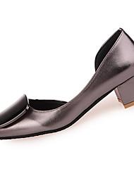 Damen-High Heels-Lässig-PU-Blockabsatz-Absätze-Schwarz / Rot / Champagner
