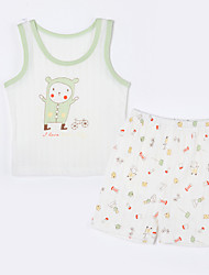 Baby Casual/Daily Animal Print Clothing Set,Cotton Summer-White