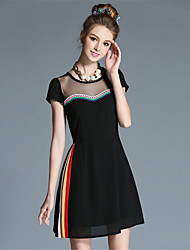 AOFULI Plus Size Women Sexy SeeThrough Embroidered Lace Patchwork Pleat Color Block Elegant Dress
