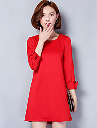 Women's Plus Size / Casual/Daily Street chic Sheath Dress,Solid Round Neck Above Knee Long Sleeve  Cotton Spring / Fall
