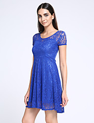 Women's Sexy Round Neck Solid Color Lace Dress