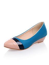 Damen-High Heels-Lässig-Lackleder-Keilabsatz-Wedges / Geschlossene Zehe-Blau