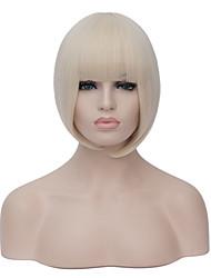 européen style bob mode court sythetic blanc cassé Bang soignée perruque de partie droite pour les femmes