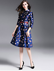 Women's Plus Size / Going out Sophisticated Sheath Dress,Print Shirt Collar Knee-length ¾ Sleeve Blue Polyester Fall