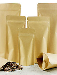 sacos de papel kraft kraft sacos de papel de alimentos banhado a jujuba alumínio sacos de folha de ziplock selado bolso um maço de cinco