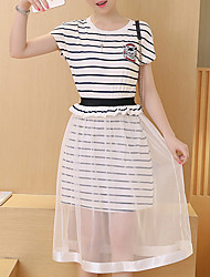 Women's Casual/Daily Street chic Tunic Dress,Striped Round Neck Midi Short Sleeve White / Black Cotton / Rayon Summer