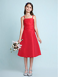 Lanting Bride Knee-length Taffeta Junior Bridesmaid Dress A-line / Princess Spaghetti Straps Natural with Bow(s) / Ruching