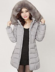 Women's Patchwork Plus Size Slim Large Size Padded Coat,Street chic Hooded Long Sleeve