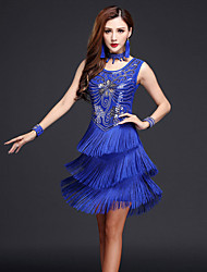 Shall We Latin Dance Dresses Women Performance Dress Neckwear Bracelets