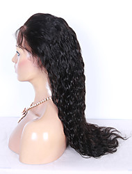 10-26 Inch Unprocessed Indian Virgin Human Hair Natural Black Color Small Water Wave Full Lace Wigs With Baby Hair