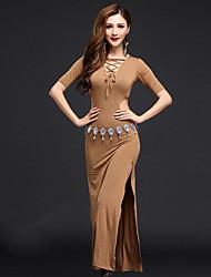 Dança do Ventre Vestidos Mulheres Actuação Modal Frente Dividida 2 Peças Manga Curta Natural Vestido Cinto