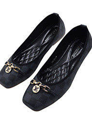 Women Flats Shoes Square Toe Slip-On Flat Dance shoes Black