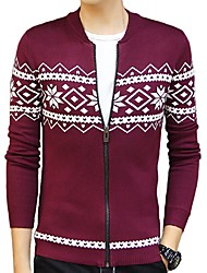 Men's Floral Casual / Work / Formal / Sport Pullover,Polyester Long Sleeve Blue / Red / Gray
