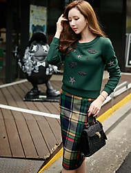 DABUWAWA Women's Going out / Casual / Vintage / Punk / Sophisticated Regular Hoodies,Solid Round NeckLong