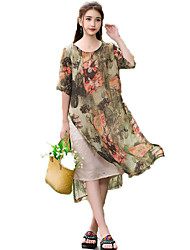 Women's Casual/Daily Chinoiserie Loose Dress,Print Round Neck  ½ Length Sleeve Red / White / Green Rayon Summer
