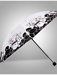 Black / White / Orange Folding Umbrella Sunny and Rainy Textile Travel / Lady / Men