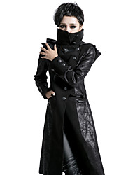 PUNK RAVE  Y-420 punk black skinny vintage woman long coat with hooded