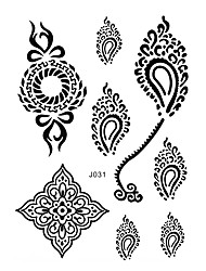 1 Tatuagem Adesiva Séries de Jóias Non Toxic / Estampado / Waterproof / Casamento / henaFeminino / Adulto Flash do tatuagemTatuagens