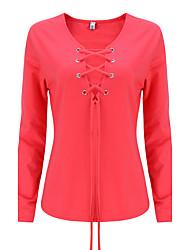 Mulheres Camiseta Happy-Hour Sensual / Moda de Rua Outono / Inverno,Sólido Vermelho / Branco / Preto / Cinza / Verde Algodão / Raiom