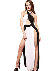 Mujer Negro y Blanco Vestido Casual/Diario Simple,Retazos Halter Asimétrico Sin Mangas Blanco Poliéster Verano Tiro Medio Microelástico