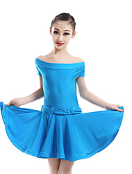 Children's Performance Chinlon / Nylon Ruched Short Sleeve Natural Dress Latin Dance Outfits